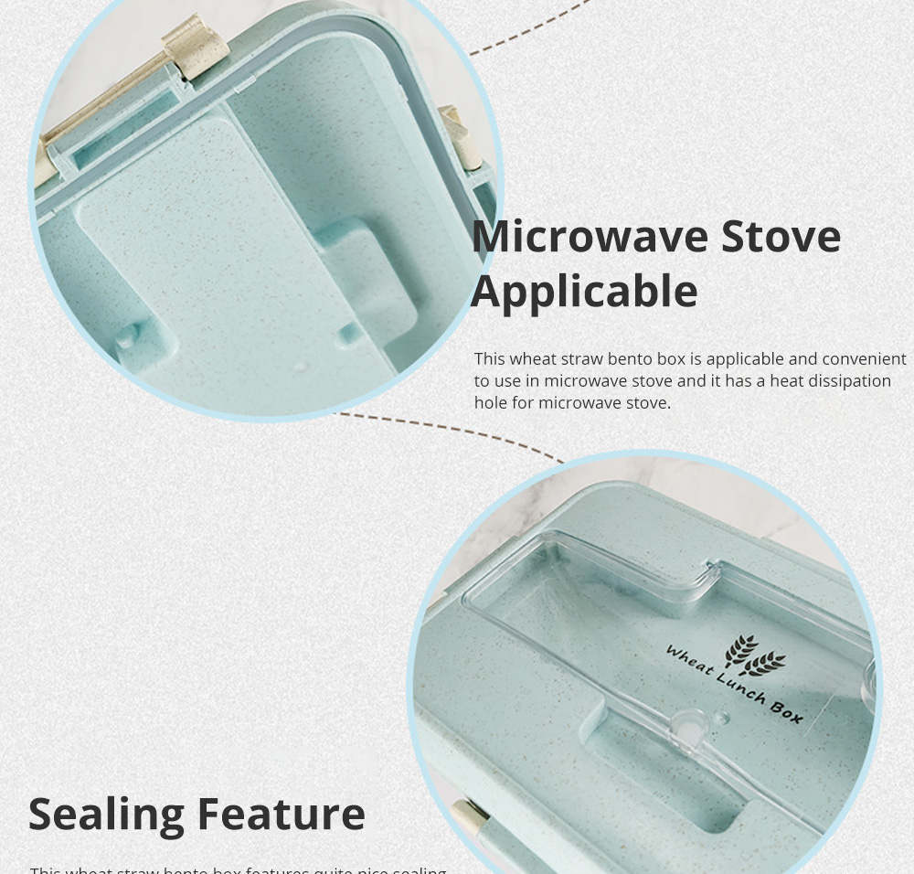 Creative Nordic Style Wheat Straw Bento Box for Students Portable Food Grade Wheat Straw Lunch Box 2