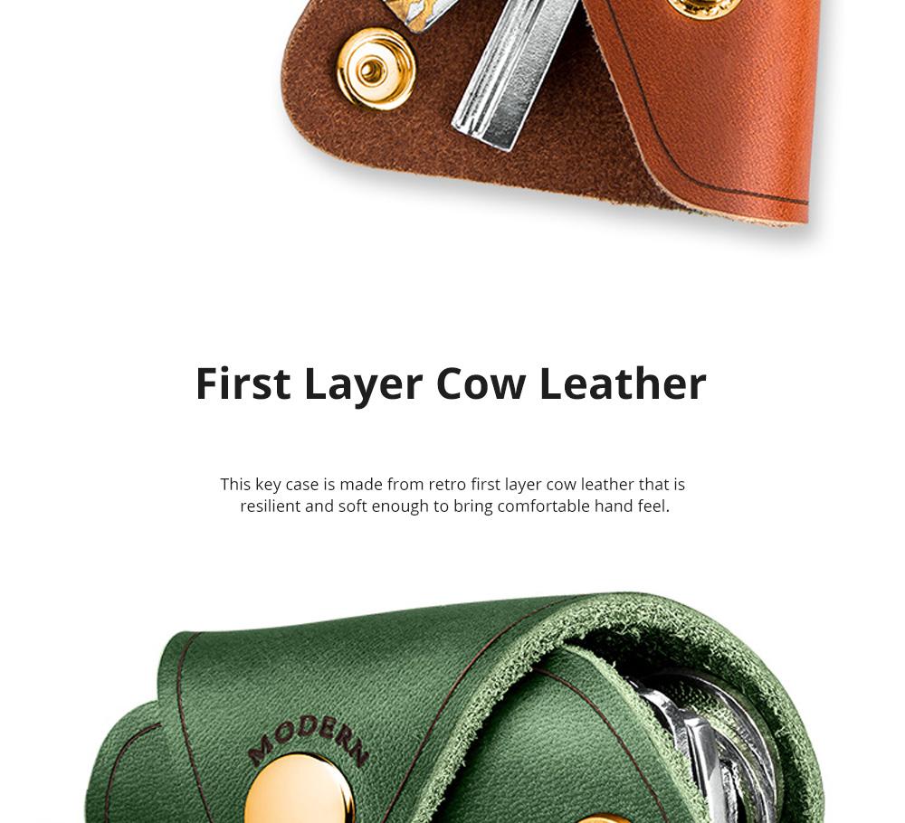Retro Key Case for Key Storage Creative Real Cow Leather Key Storage Bag Soft Resilient Key Case Large Size Key Holder 2
