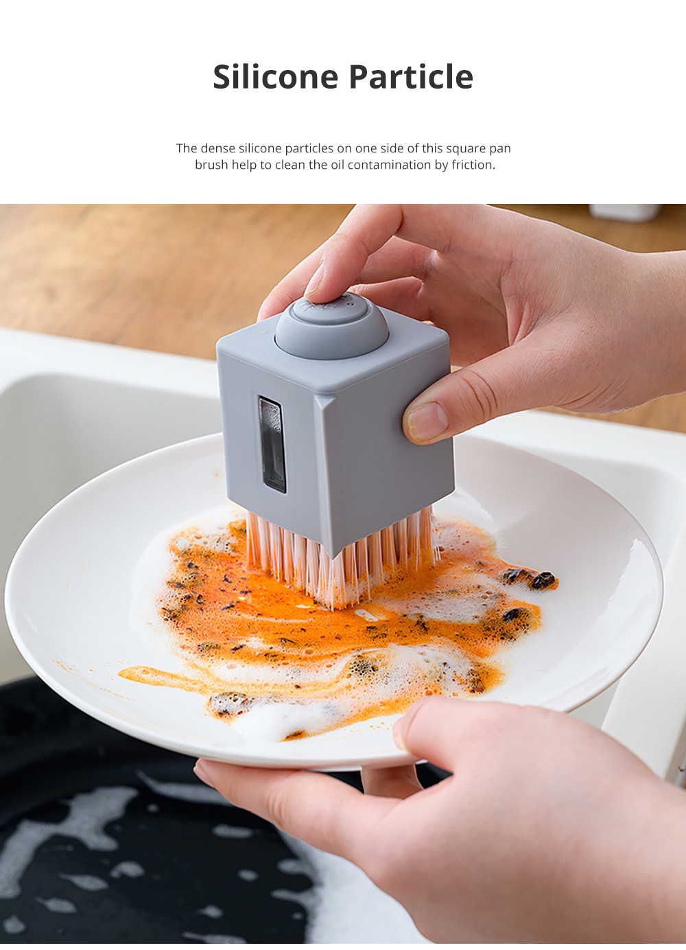 Square Pan Brush for Family Kitchen Use Oil-free Hard Hair Dish Brush Durable Squeezing Liquid Pan and Dish Brush 2
