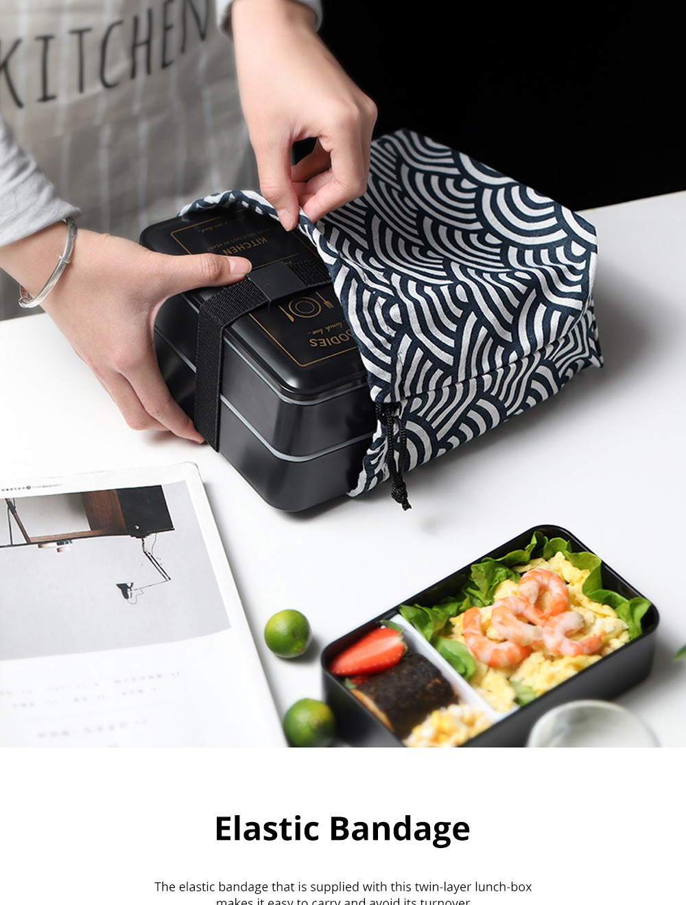 Twin-layer Lunch-box for Commuters Students Twin-layer Microwave Stove Heating Bento Box Large Size Lunch-box 6