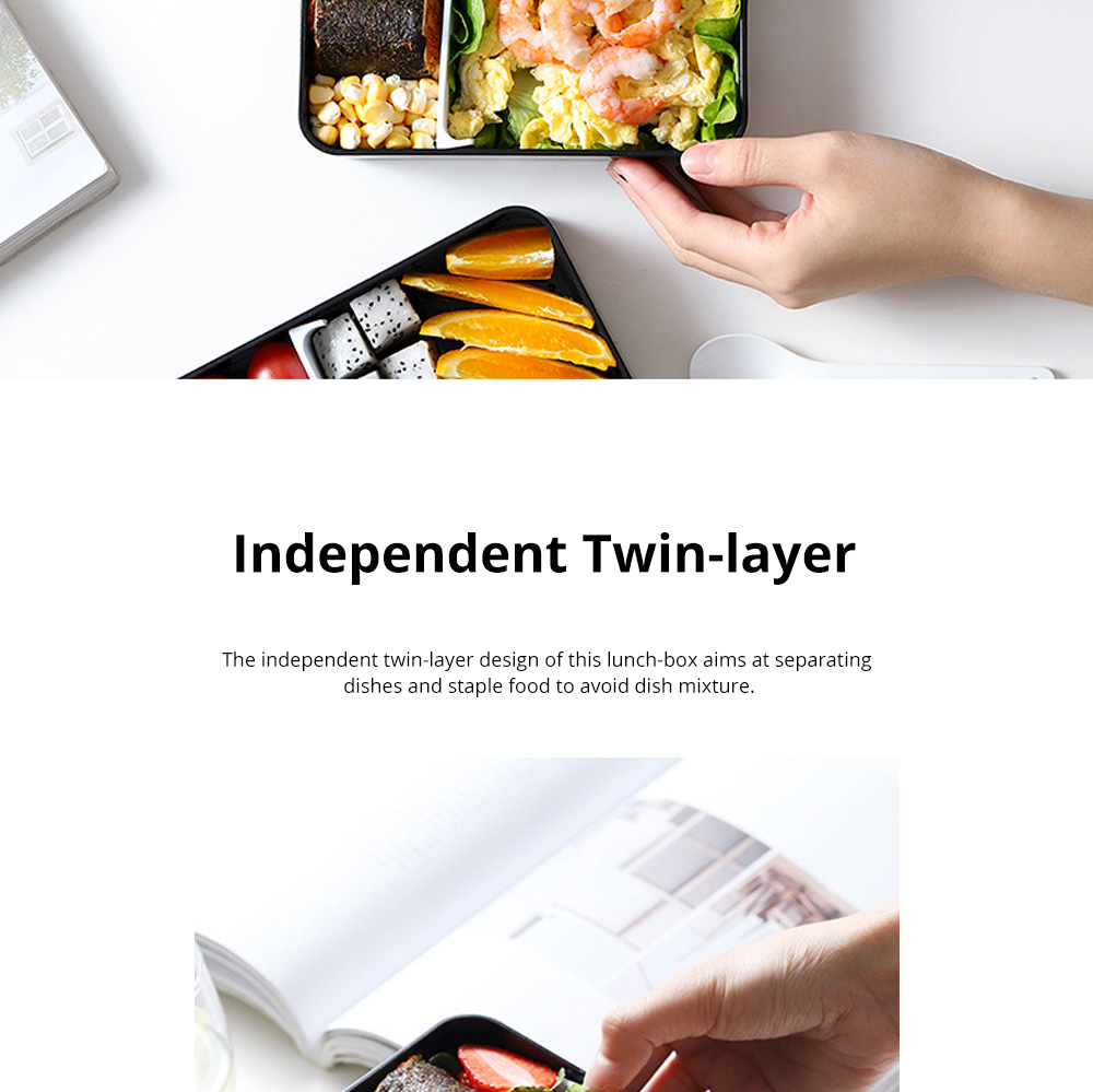 Twin-layer Lunch-box for Commuters Students Twin-layer Microwave Stove Heating Bento Box Large Size Lunch-box 3