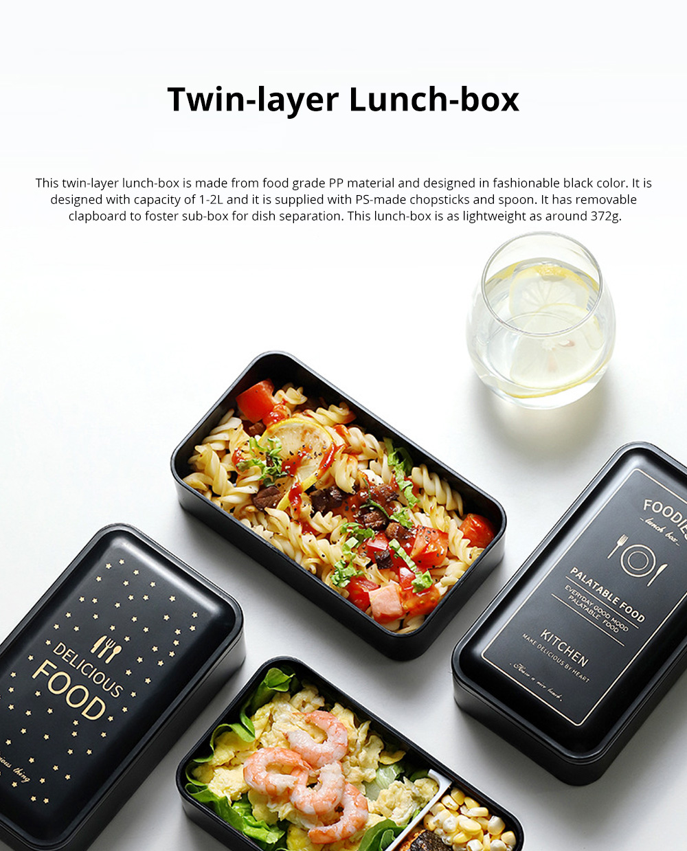 Twin-layer Lunch-box for Commuters Students Twin-layer Microwave Stove Heating Bento Box Large Size Lunch-box 0