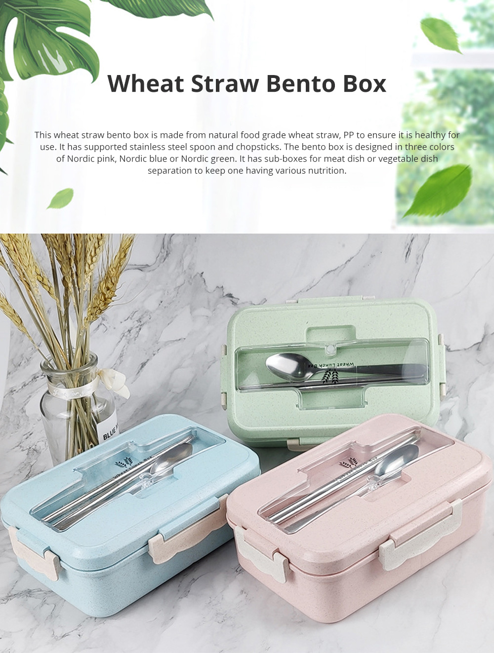 Creative Nordic Style Wheat Straw Bento Box for Students Portable Food Grade Wheat Straw Lunch Box 0