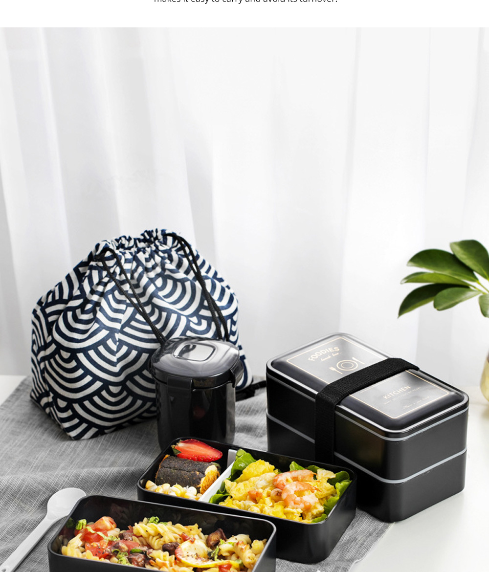 Twin-layer Lunch-box for Commuters Students Twin-layer Microwave Stove Heating Bento Box Large Size Lunch-box 7