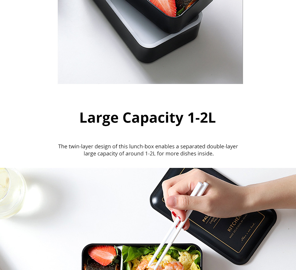 Twin-layer Lunch-box for Commuters Students Twin-layer Microwave Stove Heating Bento Box Large Size Lunch-box 2