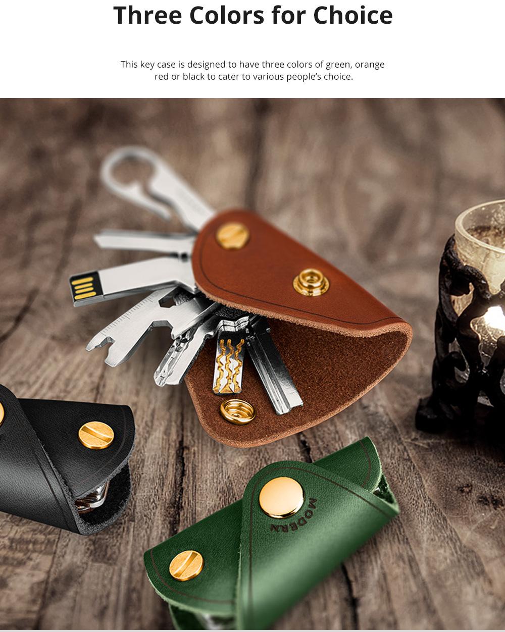 Retro Key Case for Key Storage Creative Real Cow Leather Key Storage Bag Soft Resilient Key Case Large Size Key Holder 6