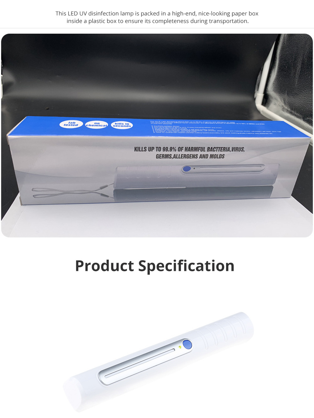 LED UV Disinfection Lamp for Family Use Hand Carry ABS Sterilizing Lamps Portable UV Disinfection Modulator Tube 5