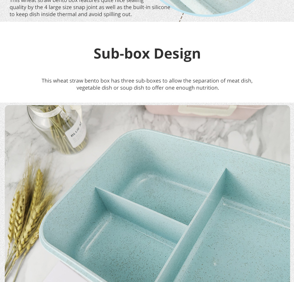 Creative Nordic Style Wheat Straw Bento Box for Students Portable Food Grade Wheat Straw Lunch Box 3