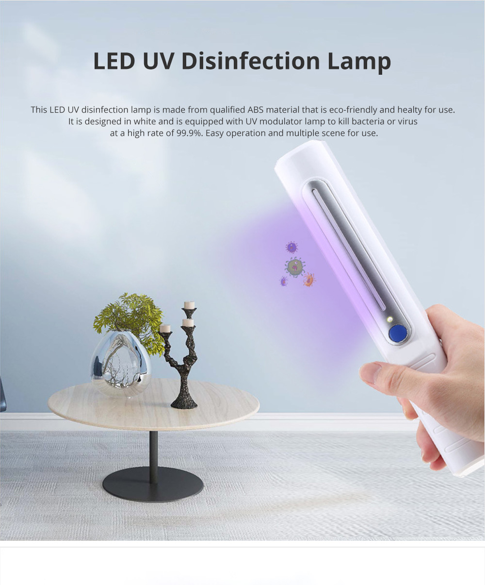 LED UV Disinfection Lamp for Family Use Hand Carry ABS Sterilizing Lamps Portable UV Disinfection Modulator Tube 0