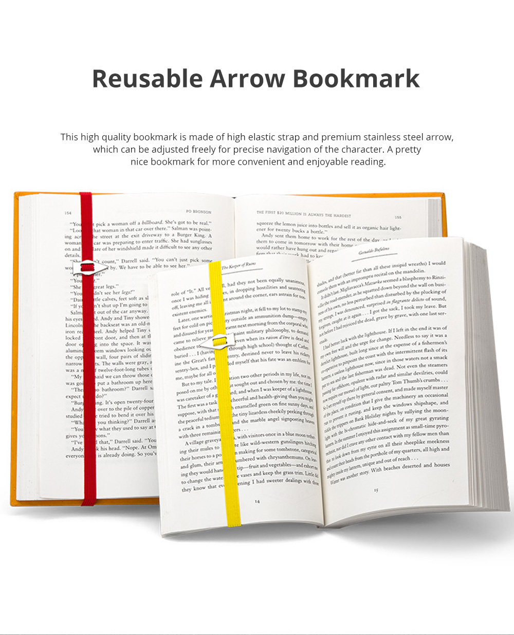 Reusable Arrow Bookmark with High Elastic Strap and Precise Navigation for School Supplies Stationery 2pcs 0