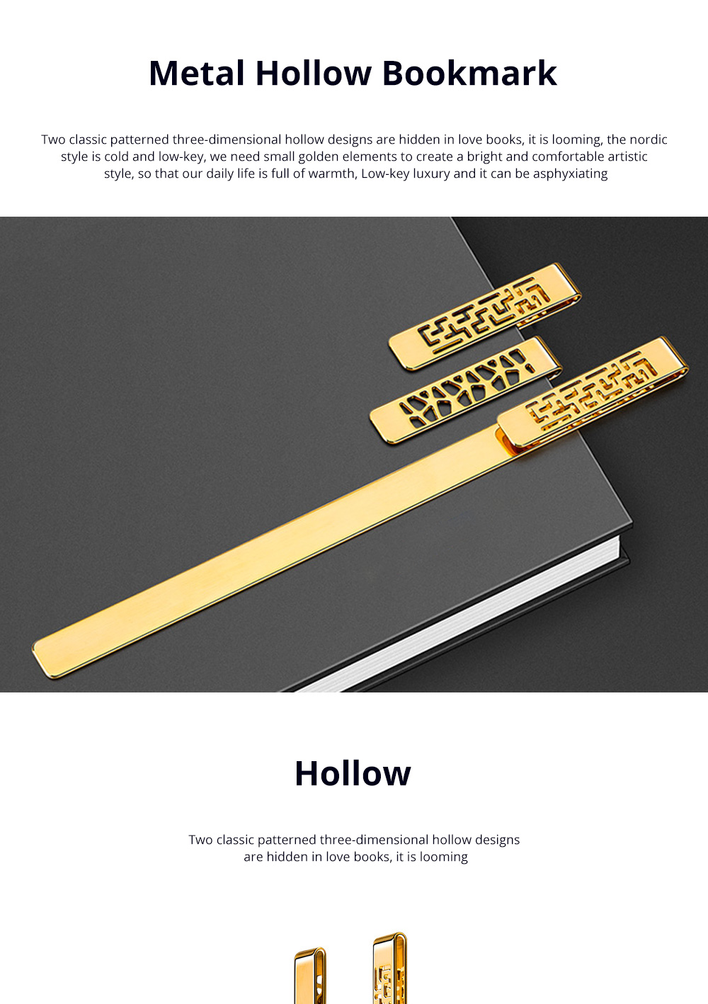 Exquisite Student Stationery Vintage Hollowed Out Traditional Culture Design Brass Metal Bookmark Pack Gift Box 0