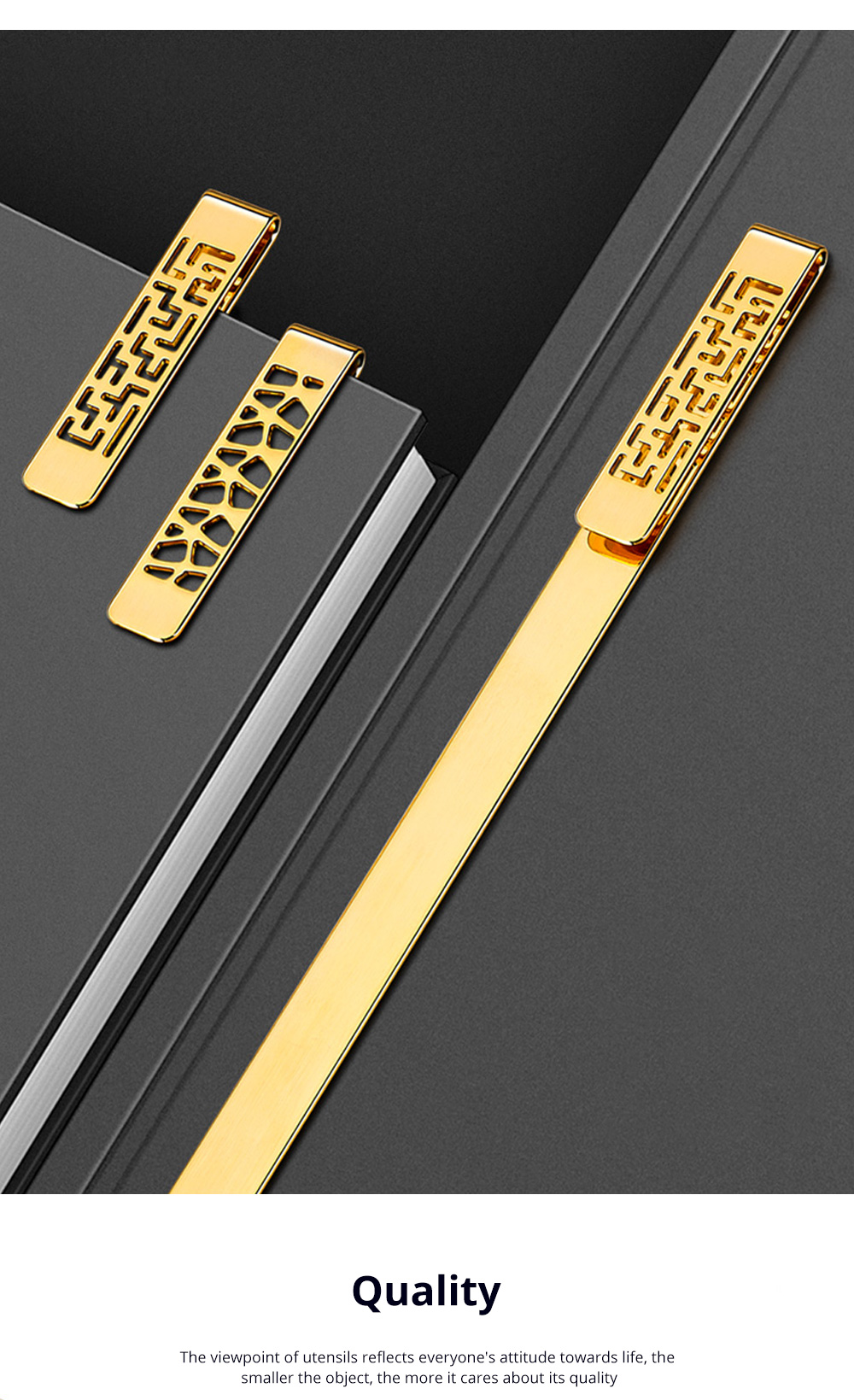 Exquisite Student Stationery Vintage Hollowed Out Traditional Culture Design Brass Metal Bookmark Pack Gift Box 3