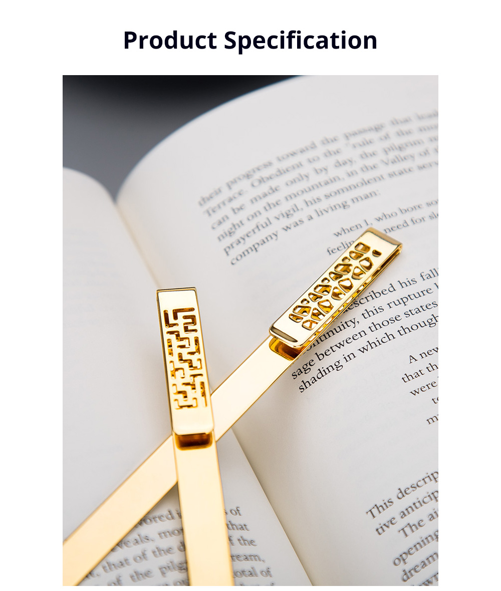 Exquisite Student Stationery Vintage Hollowed Out Traditional Culture Design Brass Metal Bookmark Pack Gift Box 6