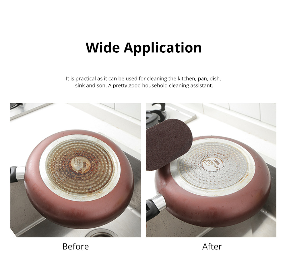Multifunctional Emery Sponges with Handle Effortless Sponge Clean Brush for Removing Rust Cleaning Kitchen 2Pcs 5