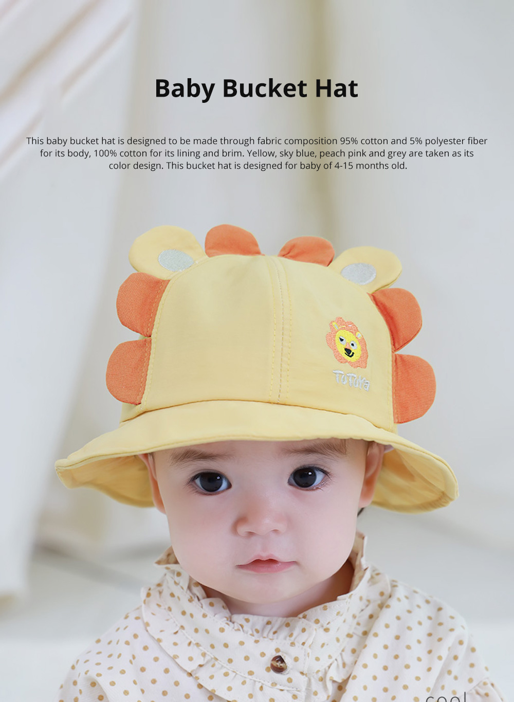 Bucket Hat for Babies Sunshine Shade Thin Spring Cotton Hat Lovely Comfortable Baby Bucket Hat Breathable Baby Hat 0