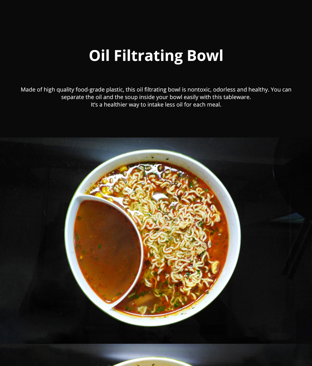Small Healthy Creative Oil Skimming Bowl Food-grade Plastic Microwavable Heat Resisting Oil Filtrating Bowl 0