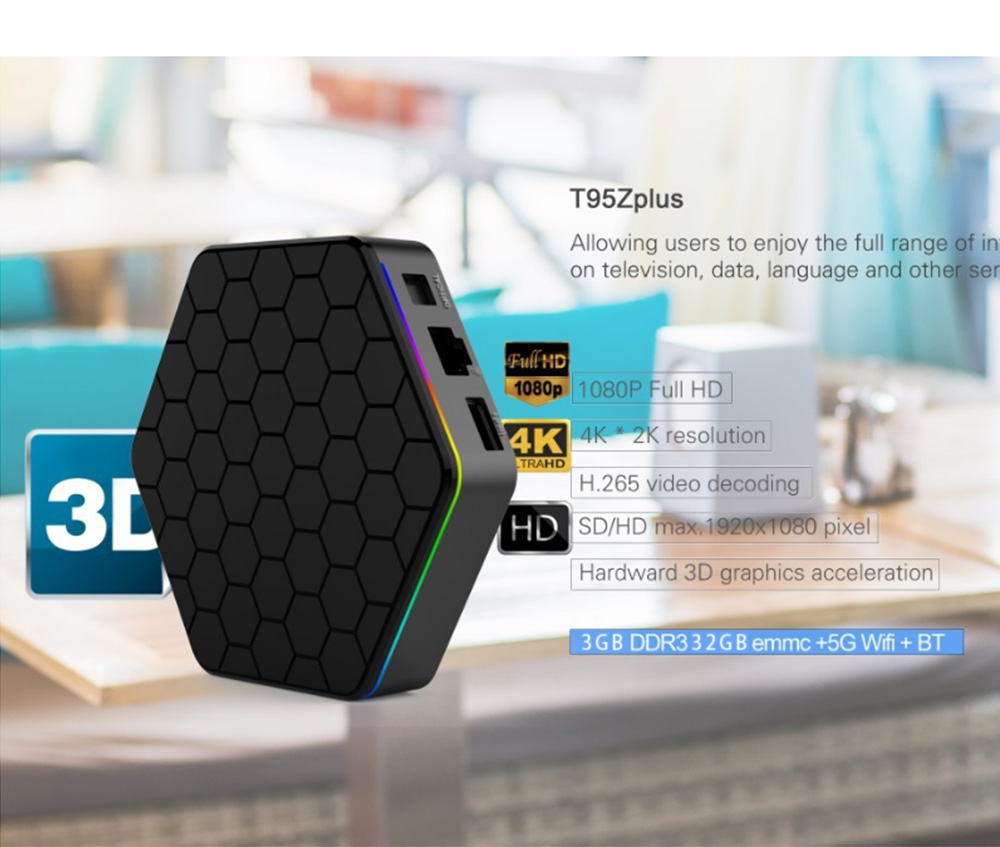 T95Z Plus Android 7.1 Tv Box Amlogic S912 3GB 32GB Ultimate Set-top Box with 2.4G+5G WiFi 1000MLAN HD 4k Player 10