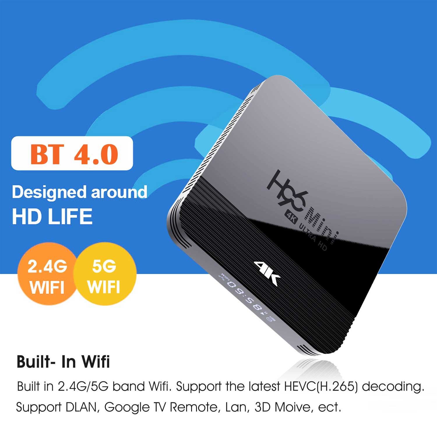 2019 Newest H96 Mini H8 RK3228A 4K TV Box 2GB+16GB Android 9.0 Set Top Box with BT4.0 2.4G/5G WiFi 3