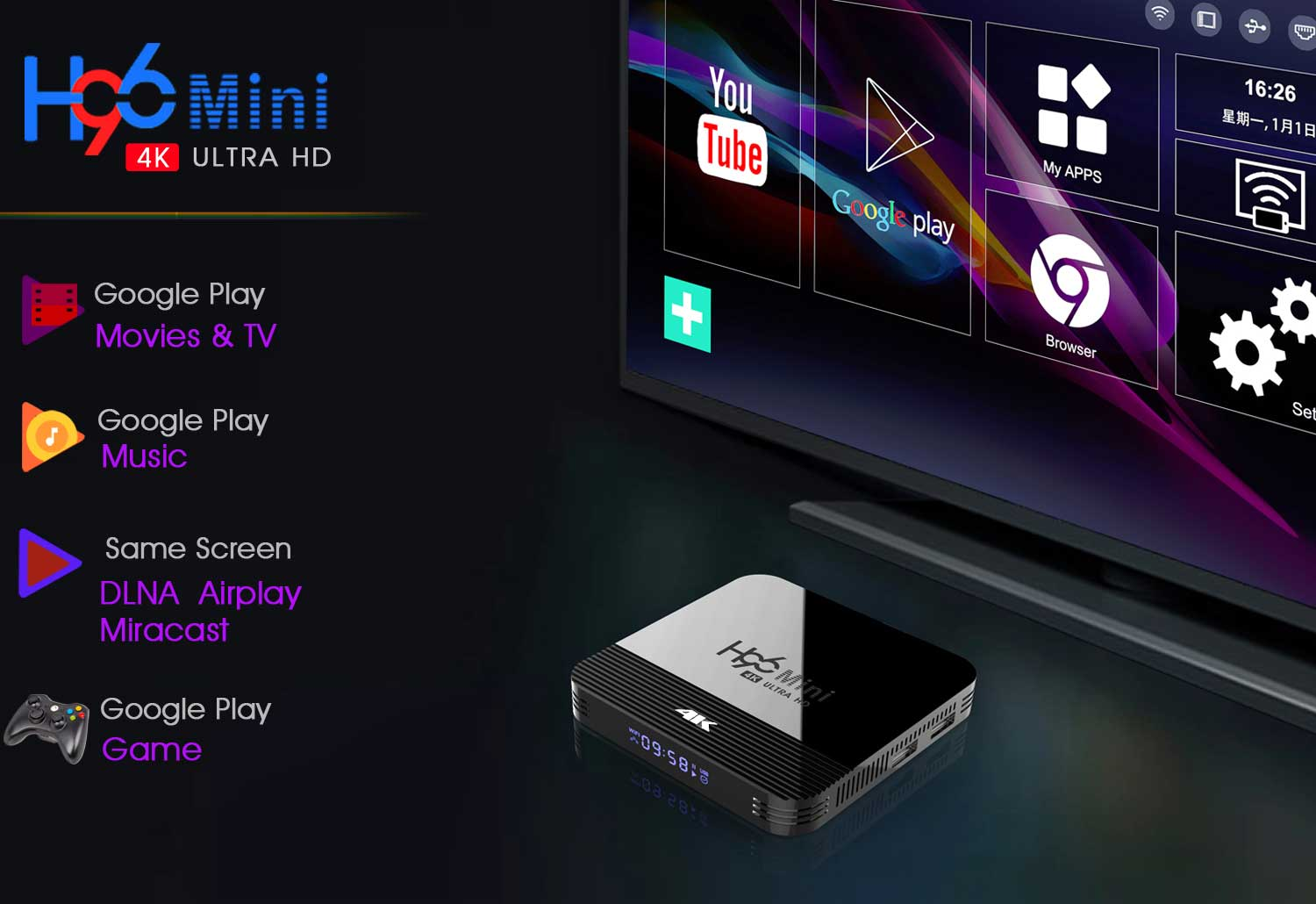 2019 Newest H96 Mini H8 RK3228A 4K TV Box 2GB+16GB Android 9.0 Set Top Box with BT4.0 2.4G/5G WiFi 1