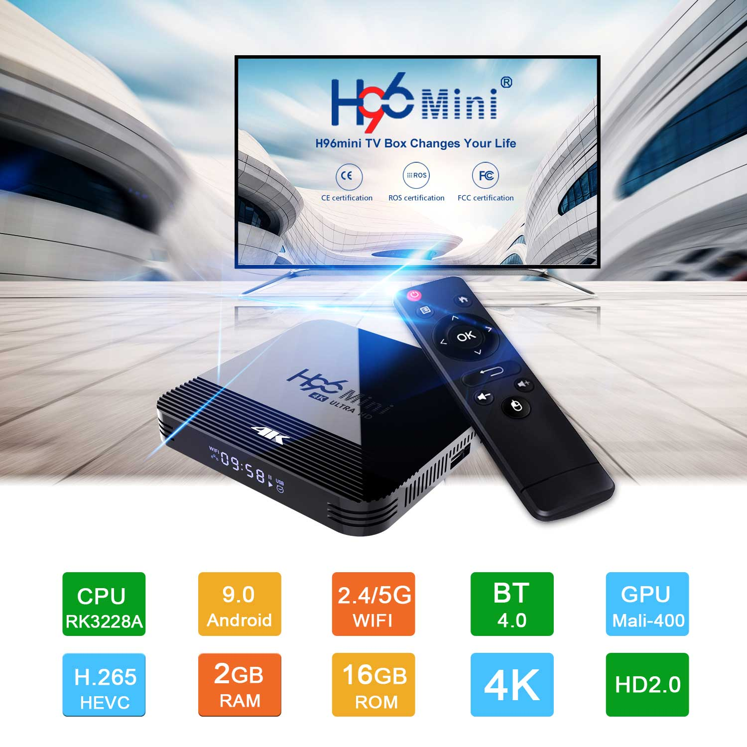 2019 Newest H96 Mini H8 RK3228A 4K TV Box 2GB+16GB Android 9.0 Set Top Box with BT4.0 2.4G/5G WiFi 0