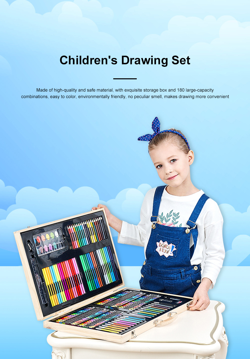 Children's Drawing Set Watercolor Brush Tool Belt Easel Set Painting Supplies Set for Student Learning 0