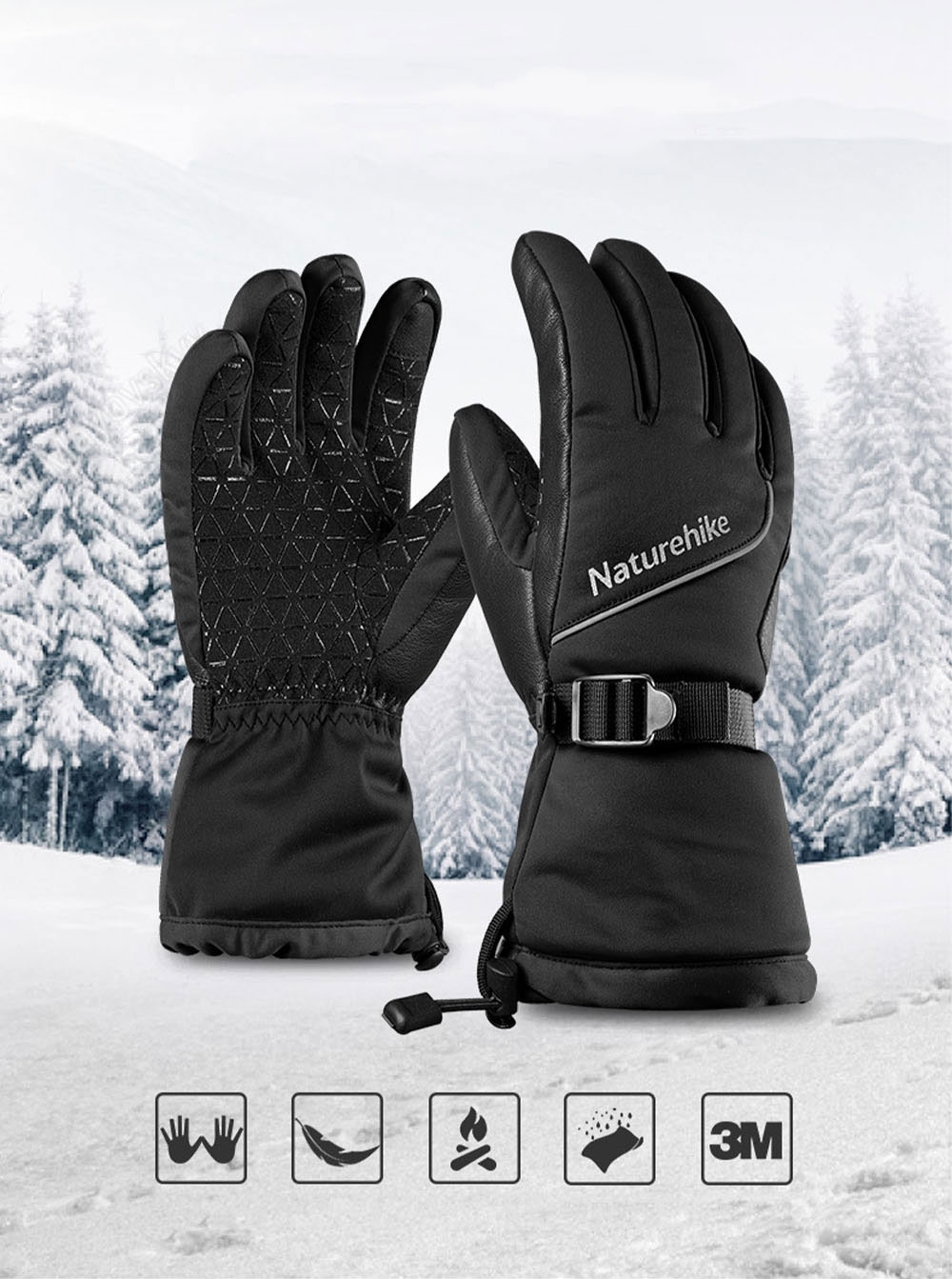 Naturehike Wind-proof Water-proof Velvet Thickening Skiing Gloves for Outdoor  Warm Insulation Winter Thermal Hand Protection Sport Gloves 3