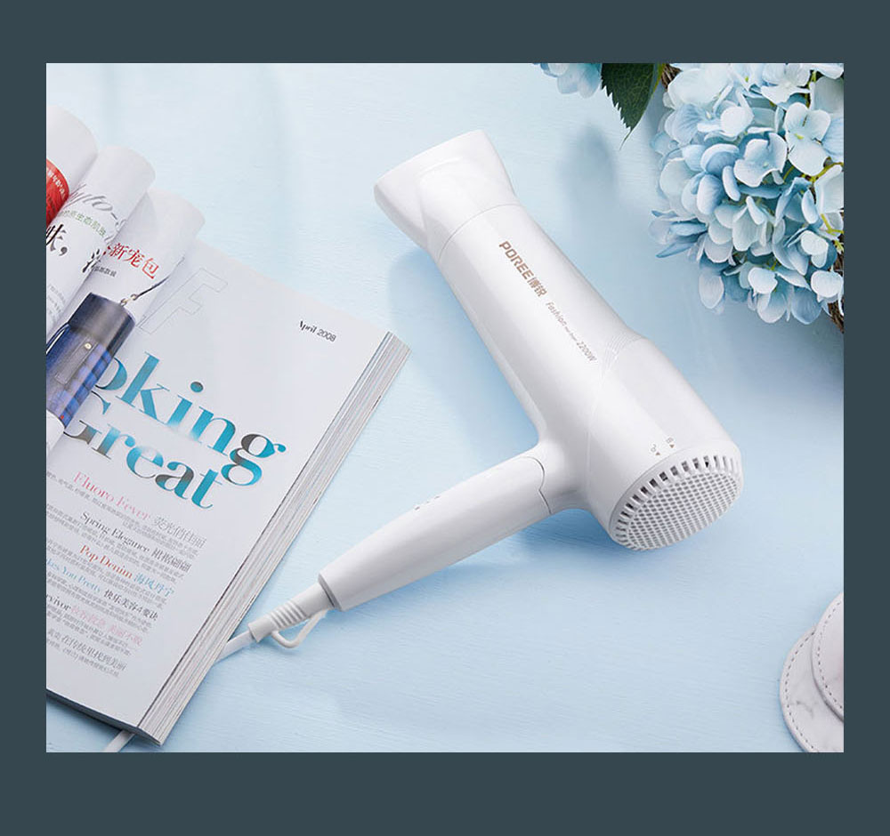 POREE PH1612 Fashionable Foldable Hair Dryer with Six Gears 2200W Hair Protecting Electric Dryer for Both Domestic and Hair Salon 1