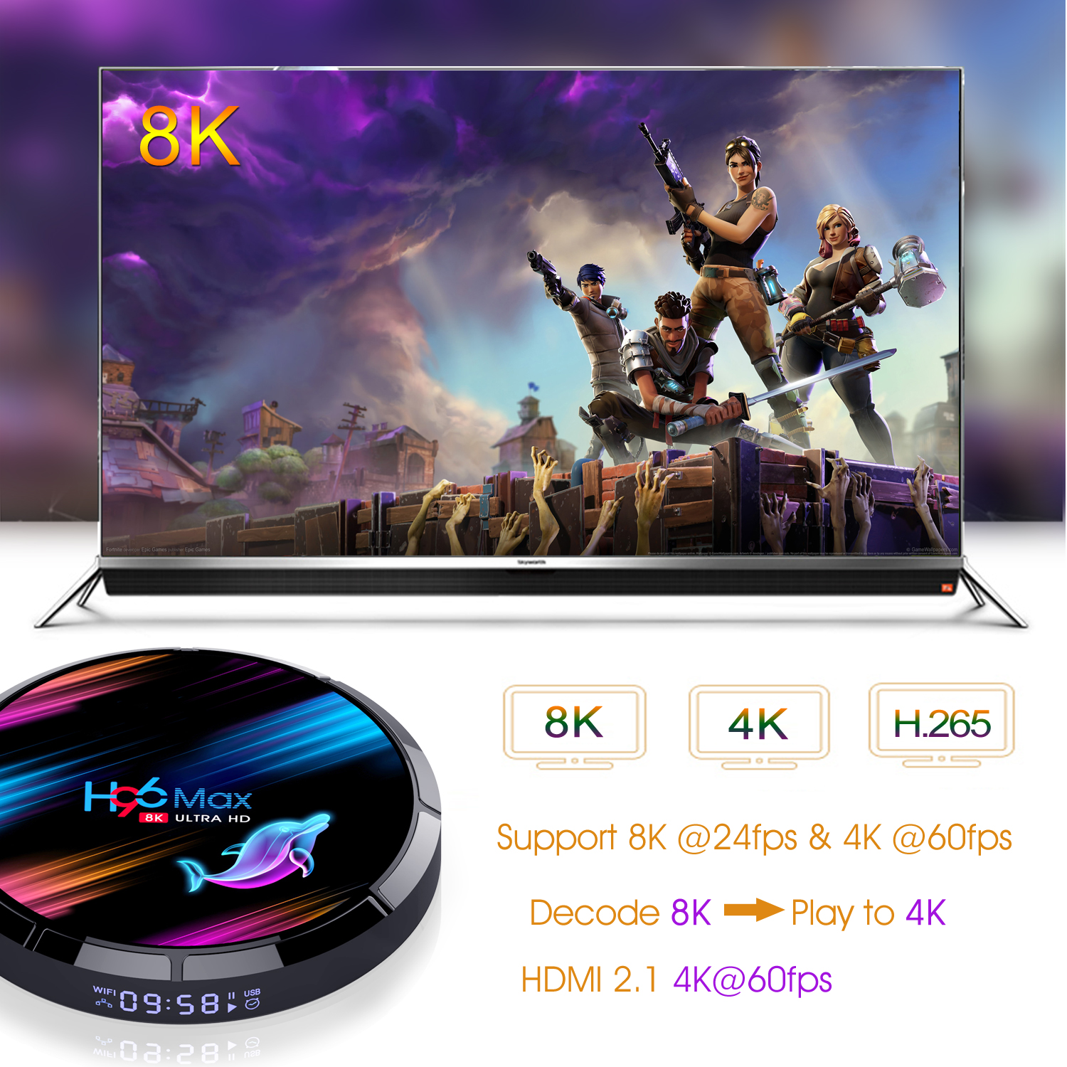 H96 Max X3 S905X3 8K ULTRA HD TV Box 4GB RAM + eMMC 32GB/ 64GB/ 128GB ROM 2.4G/5G WIFI 1000M Ethernet 9.0 Android Box 3