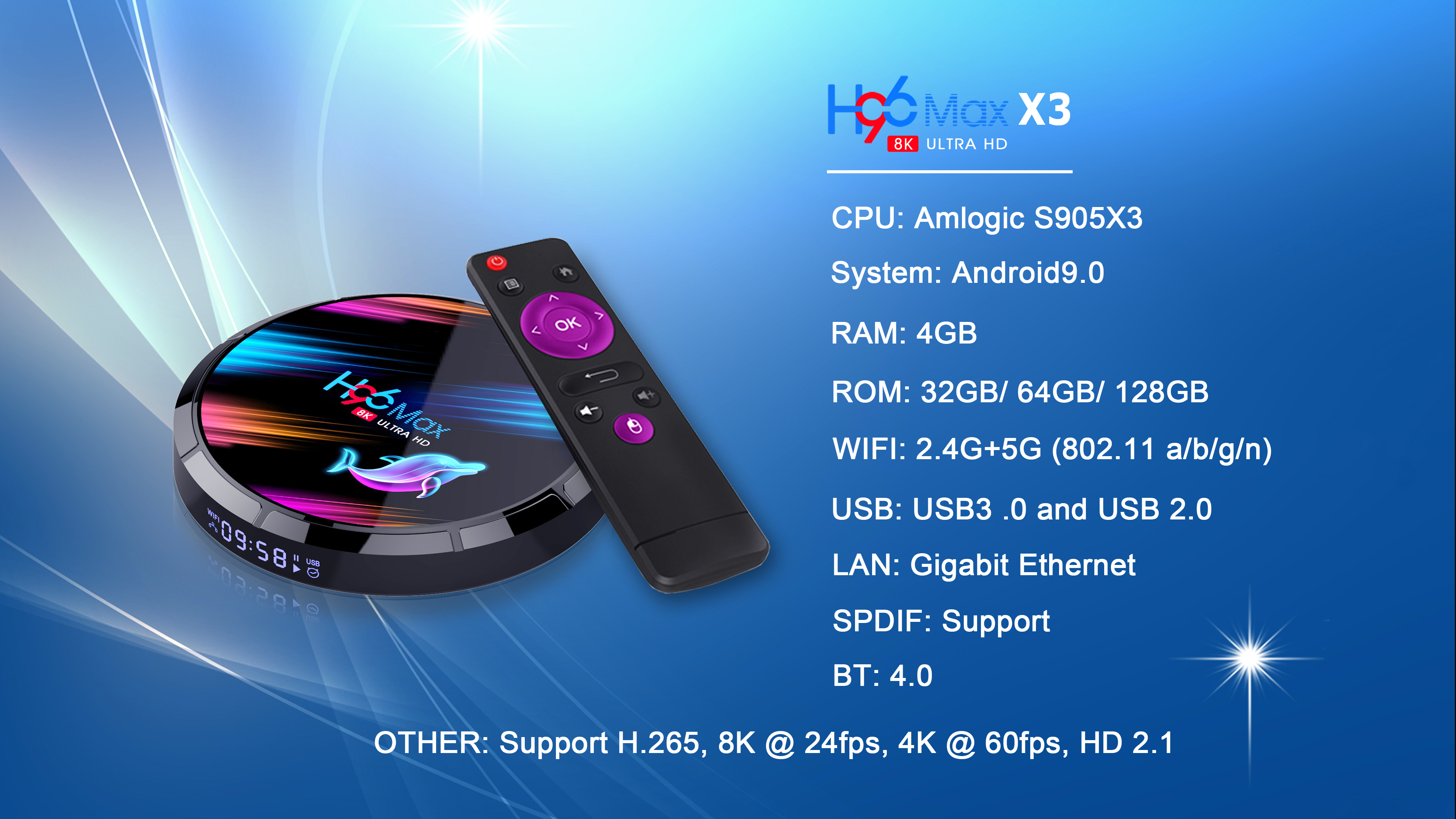 H96 Max X3 S905X3 8K ULTRA HD TV Box 4GB RAM + eMMC 32GB/ 64GB/ 128GB ROM 2.4G/5G WIFI 1000M Ethernet 9.0 Android Box 10