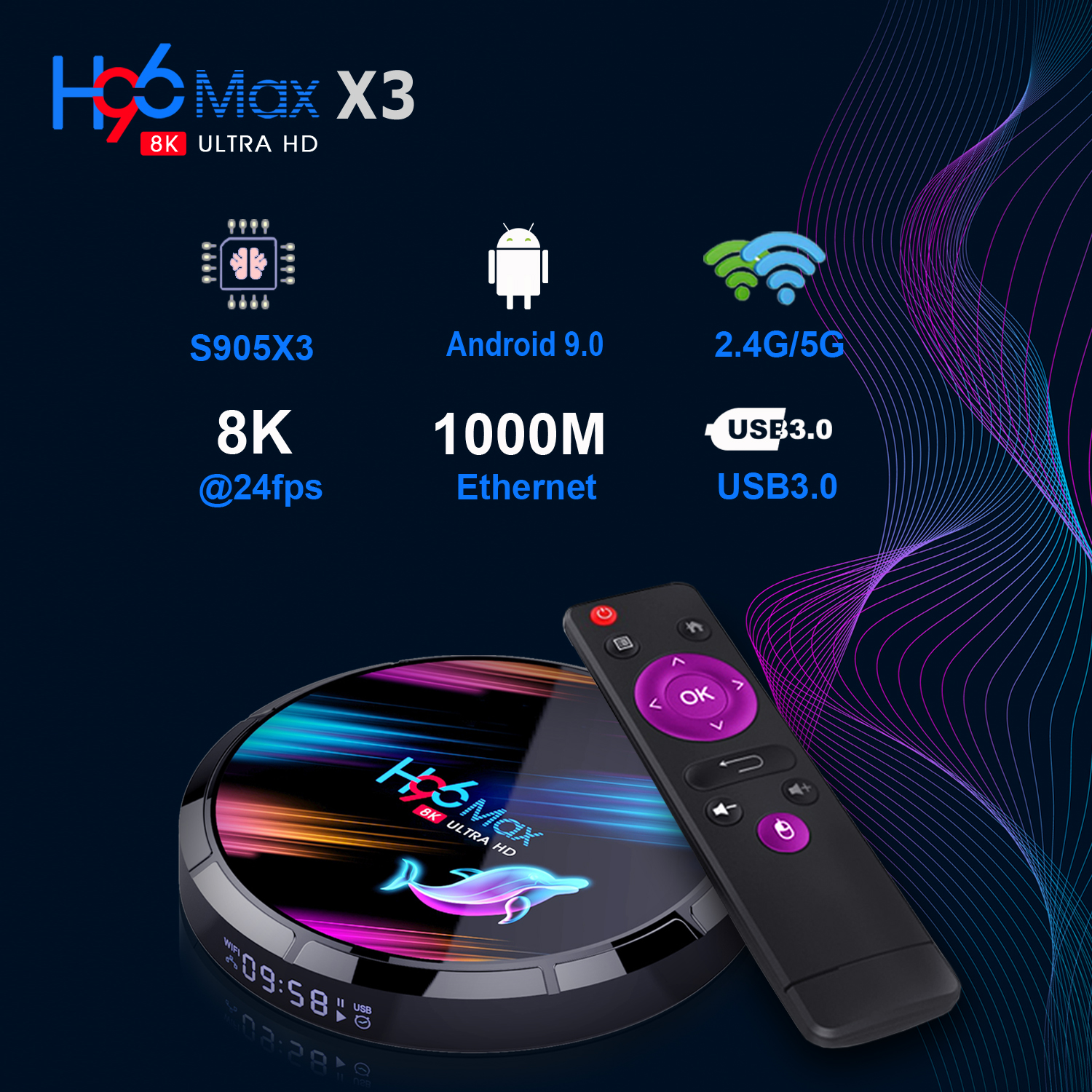 H96 Max X3 S905X3 8K ULTRA HD TV Box 4GB RAM + eMMC 32GB/ 64GB/ 128GB ROM 2.4G/5G WIFI 1000M Ethernet 9.0 Android Box 0