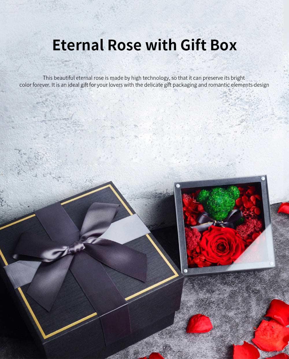 Eternal Rose with Gift Box Forever Blossom Flower for Love Ones Artificial Eternal Life Flower Gift for Mom Lover Girlfriend 0