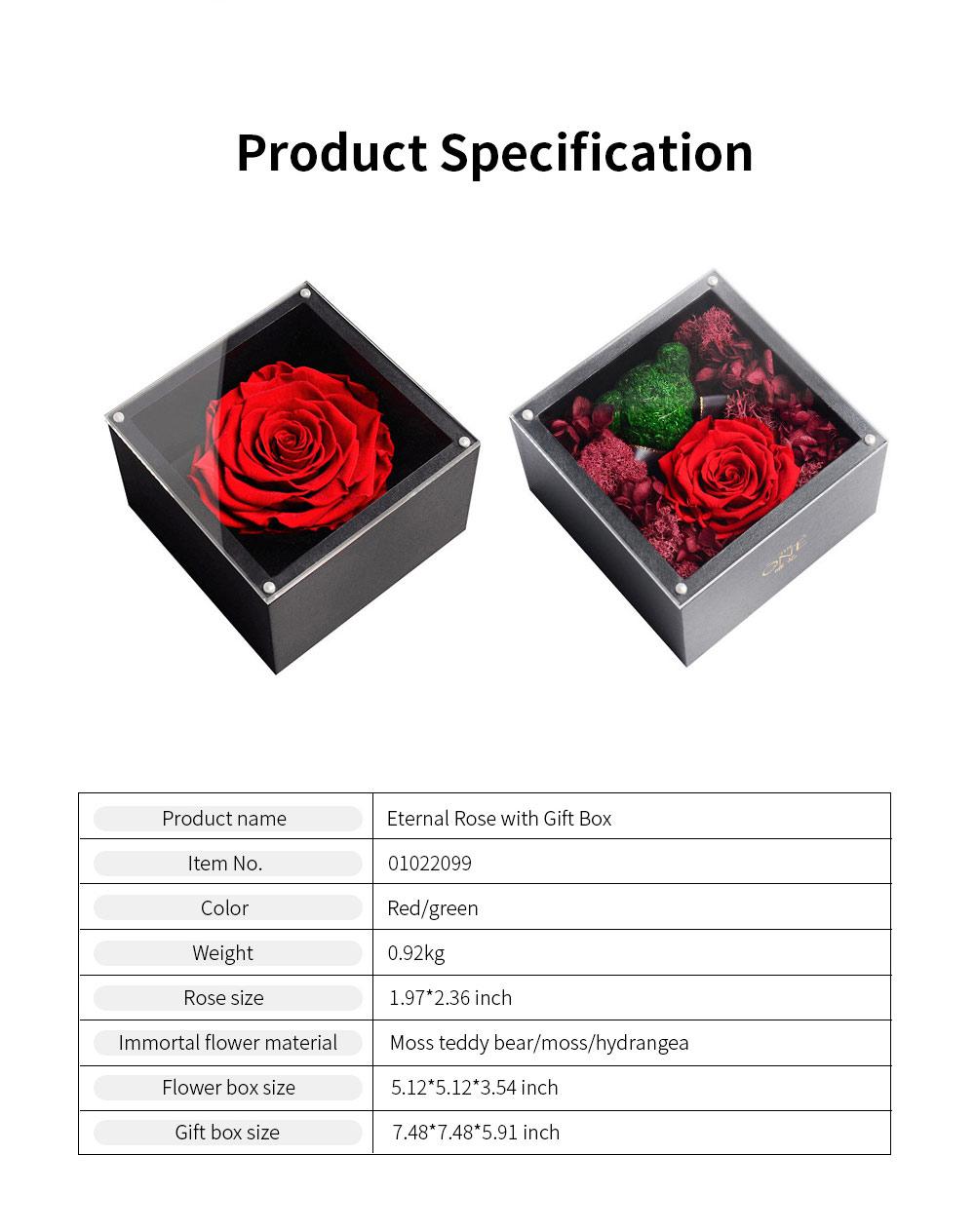 Eternal Rose with Gift Box Forever Blossom Flower for Love Ones Artificial Eternal Life Flower Gift for Mom Lover Girlfriend 8