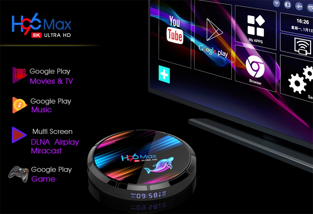 H96 Max X3 S905X3 8K ULTRA HD TV Box 4GB RAM + eMMC 32GB/ 64GB/ 128GB ROM 2.4G/5G WIFI 1000M Ethernet 9.0 Android Box 2