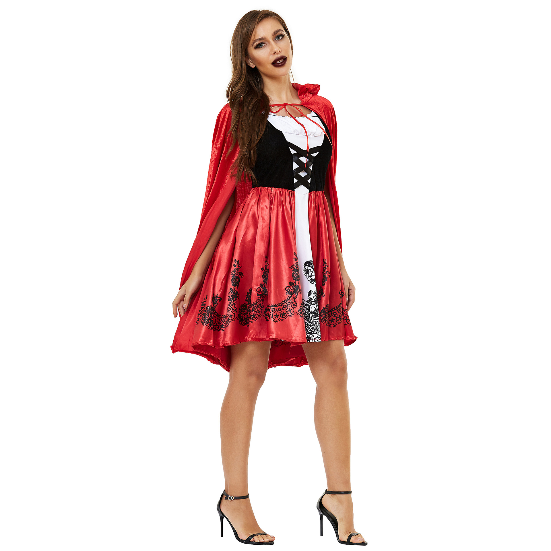 Women's Halloween Cape Little Red Riding Hood Cosplay role uniform thickened s-3xl plus 2