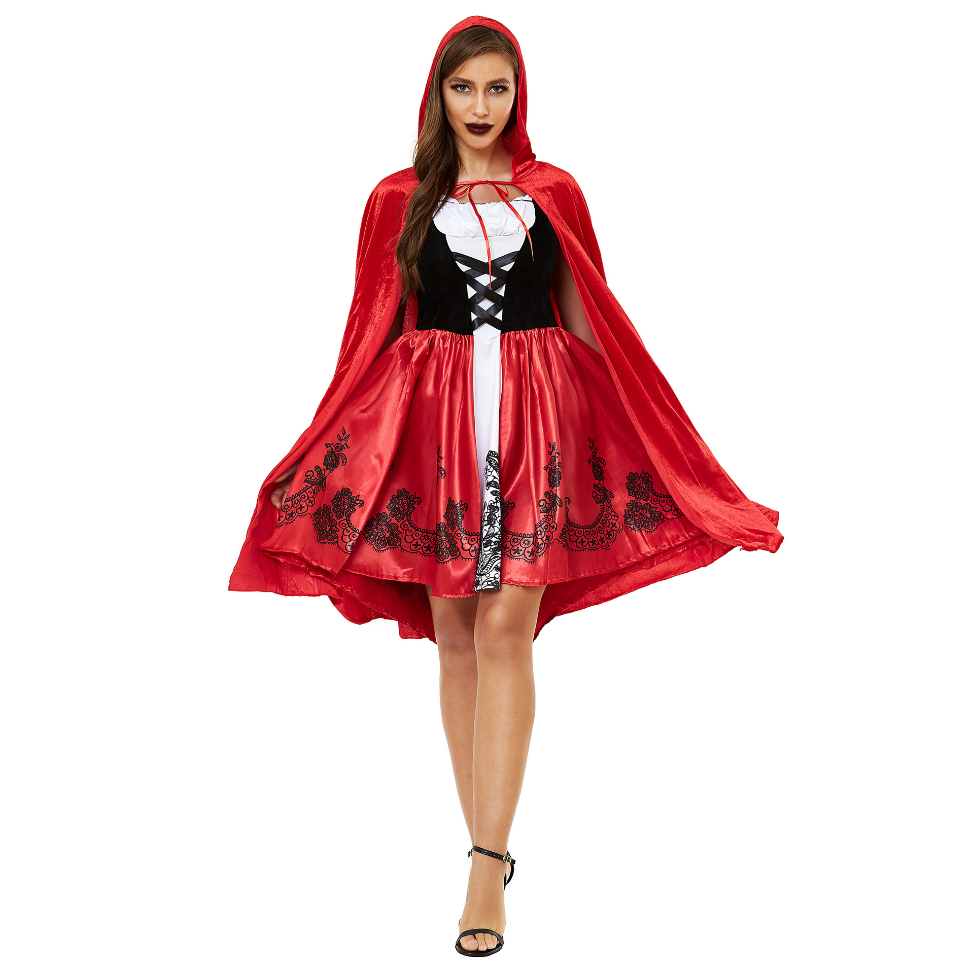 Women's Halloween Cape Little Red Riding Hood Cosplay role uniform thickened s-3xl plus 0