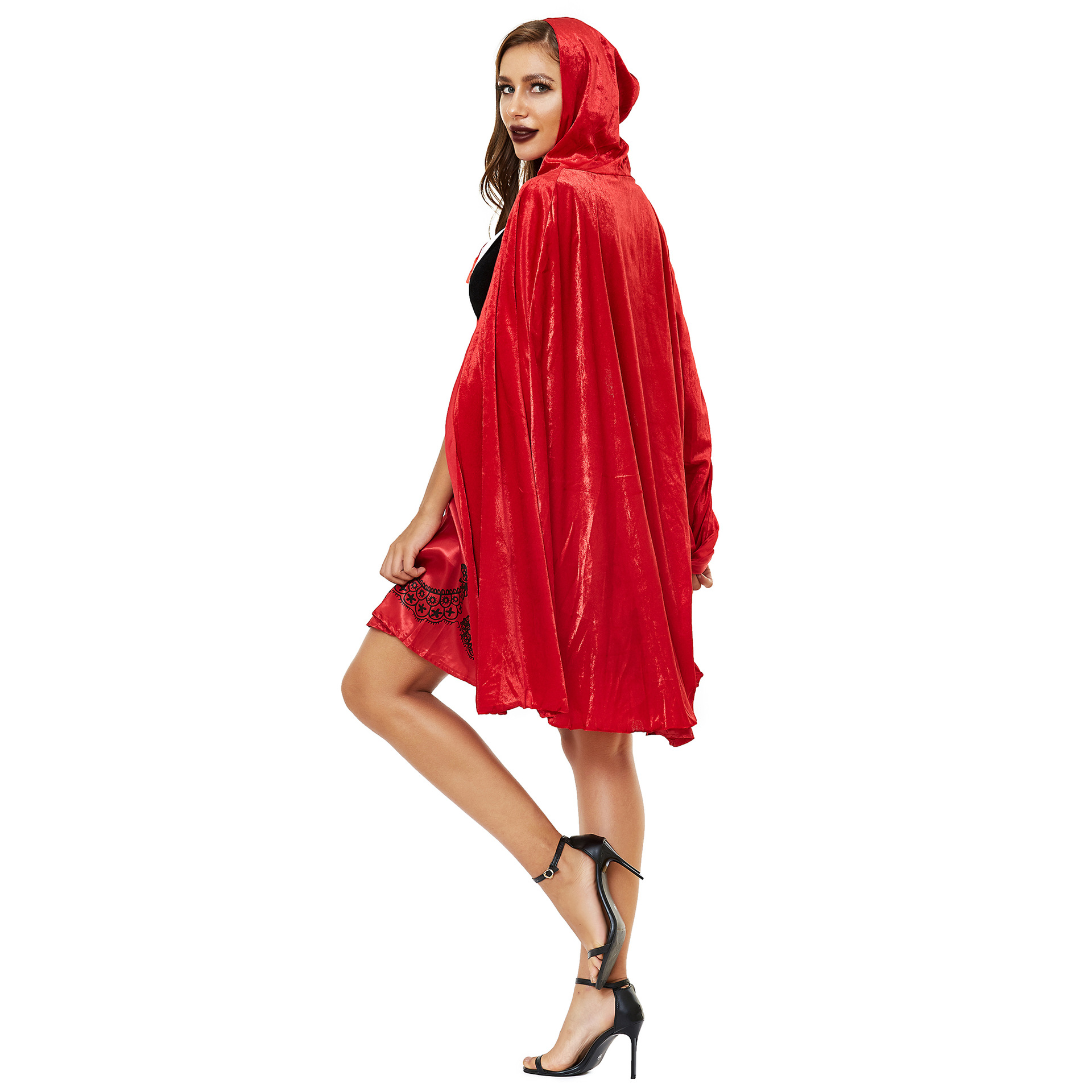 Women's Halloween Cape Little Red Riding Hood Cosplay role uniform thickened s-3xl plus 3
