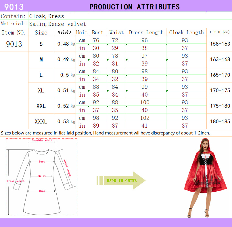 Women's Halloween Cape Little Red Riding Hood Cosplay role uniform thickened s-3xl plus 6