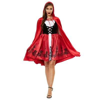 Women's Halloween Cape Little Red Riding Hood Cosplay role uniform thickened s-3xl plus