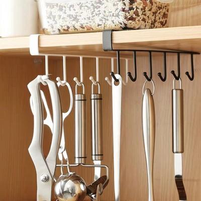 6 Hooks Cup Holder Hang Kitchen Cabinet Under Shelf Storage Rack Organizer Iron Multifunction Kitchenware Storage hook