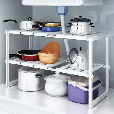 Adjustable 2 Tier Under Sink Shelf Kitchen Storage Organize Rack Holder Plastic Shelf Rack Organizer Holder Kitchen decoration