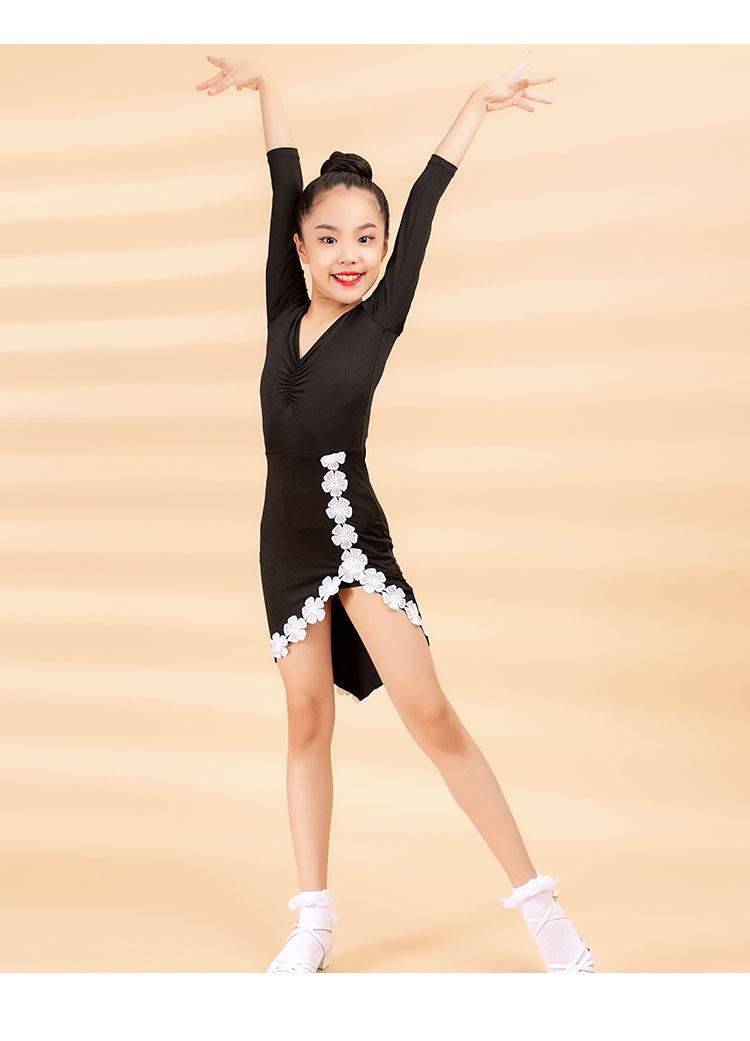 2020 Women's Children's Latin Dance Dress Autumn/Winter Fashion New Products Cuff Lace Cross Swing Practice Skirt 10