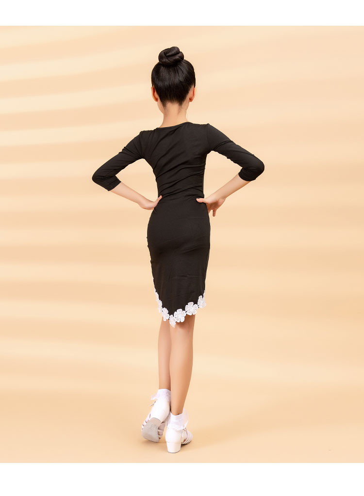 2020 Women's Children's Latin Dance Dress Autumn/Winter Fashion New Products Cuff Lace Cross Swing Practice Skirt 8