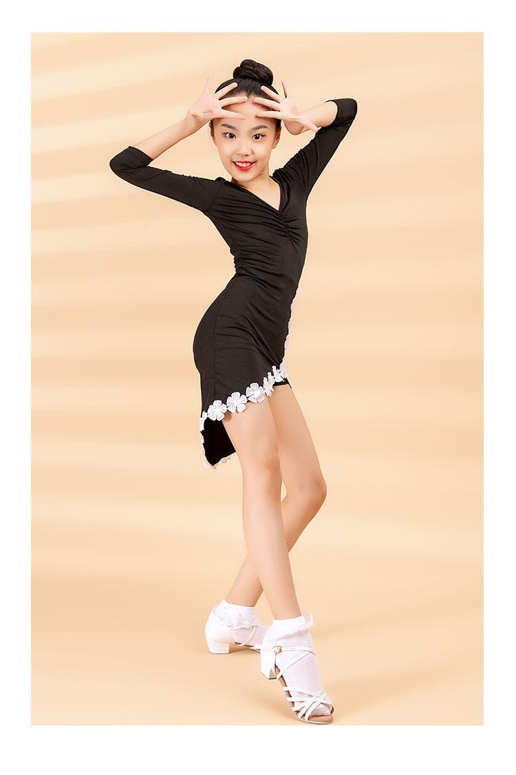 2020 Women's Children's Latin Dance Dress Autumn/Winter Fashion New Products Cuff Lace Cross Swing Practice Skirt 9