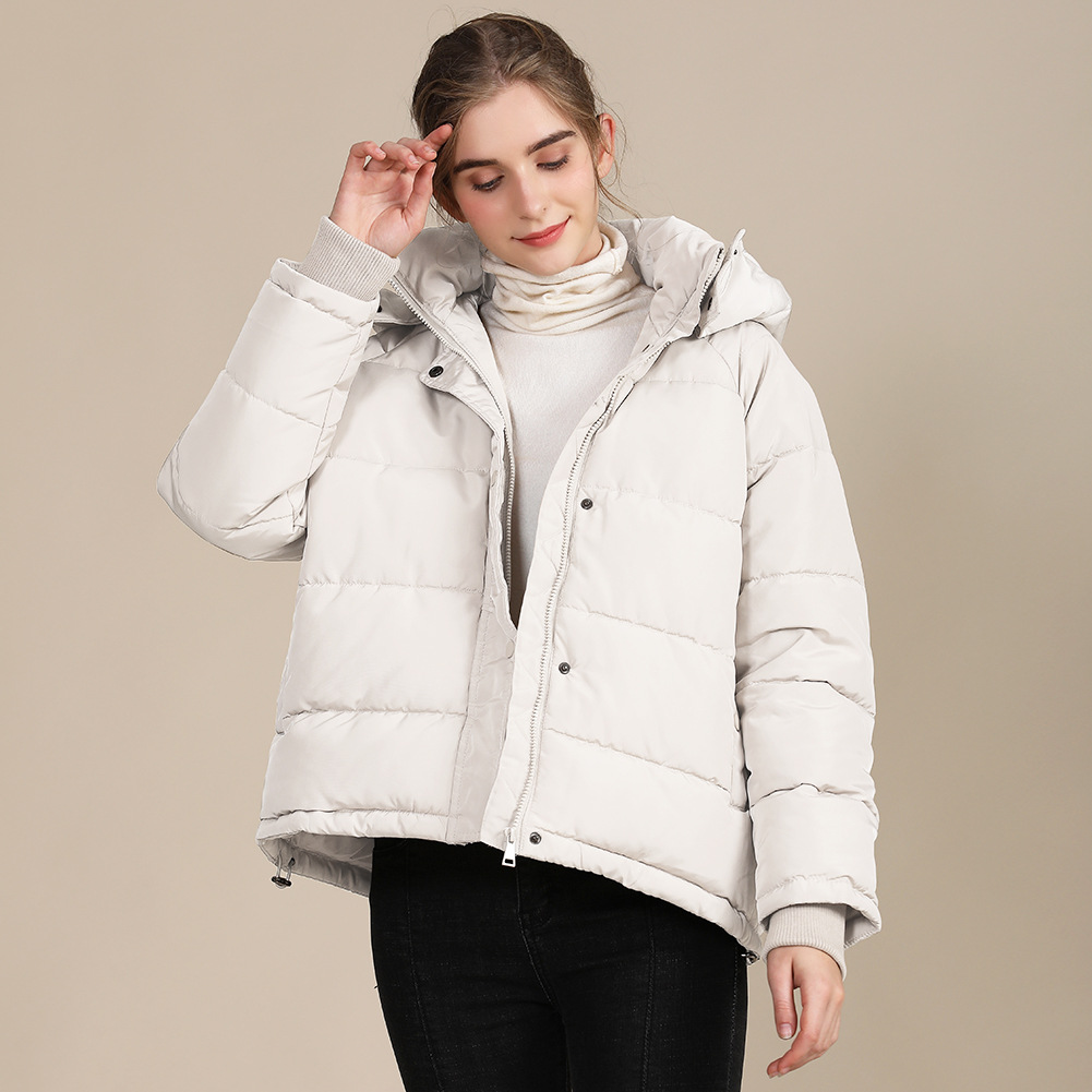 2020 new autumn and winter European and American plus size loose cotton-padded jacket female short solid color women's cotton coat women's  21