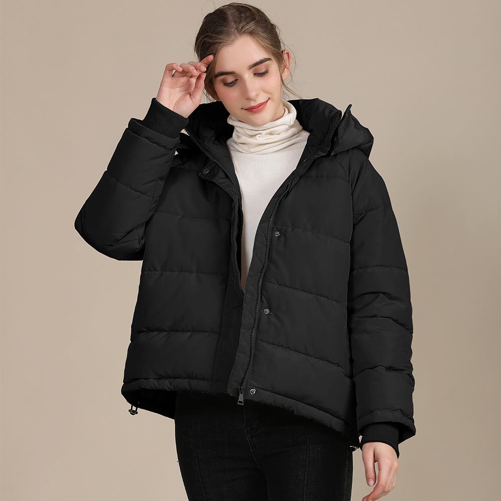 2020 new autumn and winter European and American plus size loose cotton-padded jacket female short solid color women's cotton coat women's  10