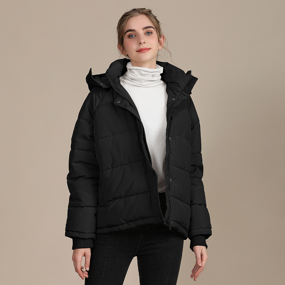 2020 new autumn and winter European and American plus size loose cotton-padded jacket female short solid color women's cotton coat women's  11