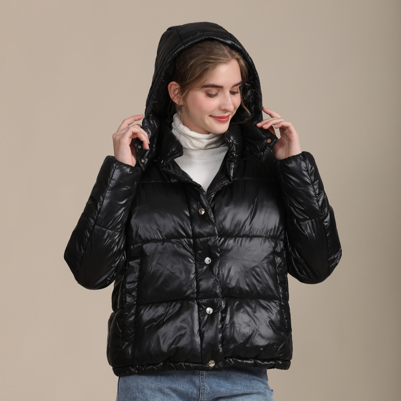 2020 new European and American large size cotton-padded jacket women's short loose bread clothing hooded bright winter women's coat 5