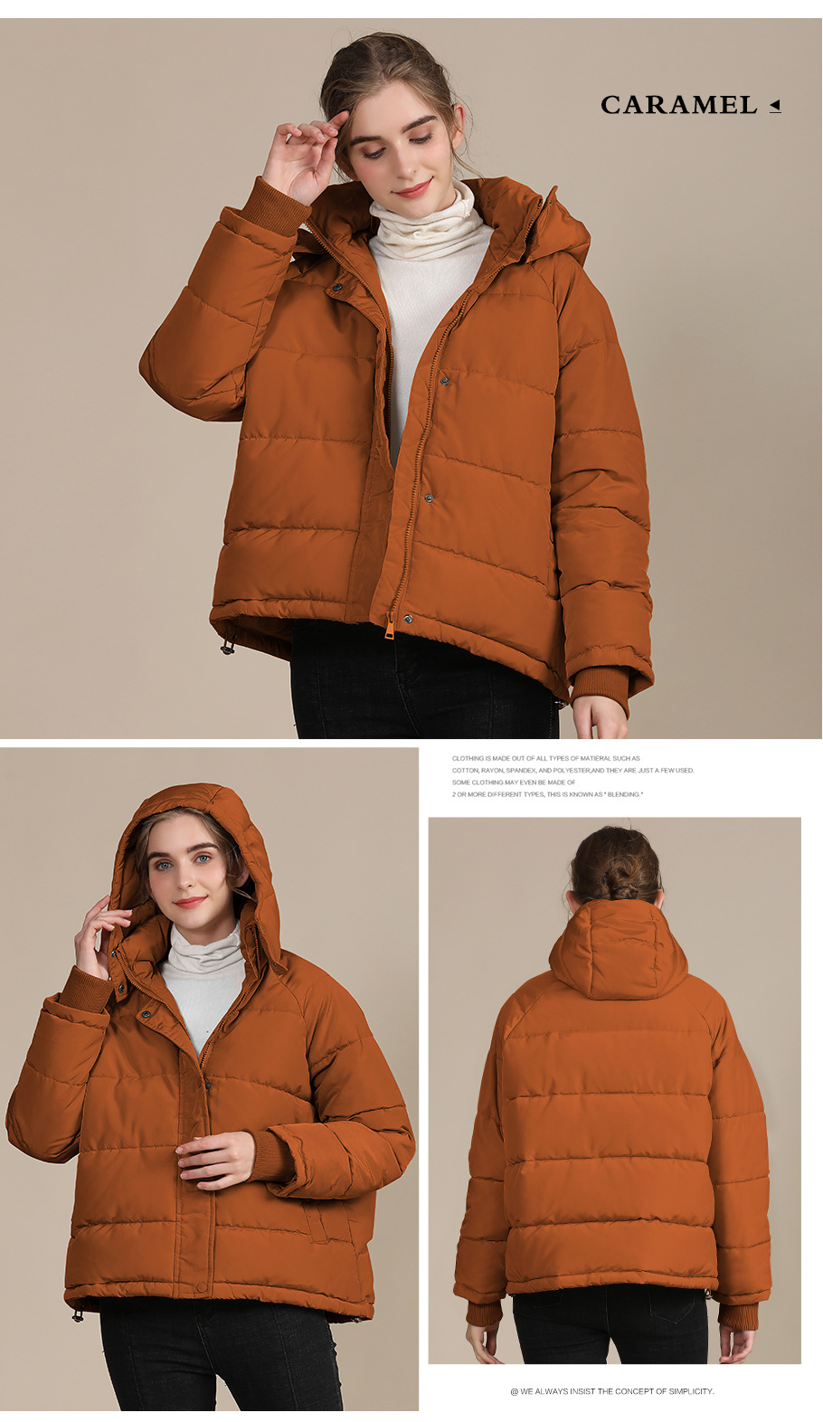 2020 new autumn and winter European and American plus size loose cotton-padded jacket female short solid color women's cotton coat women's  7