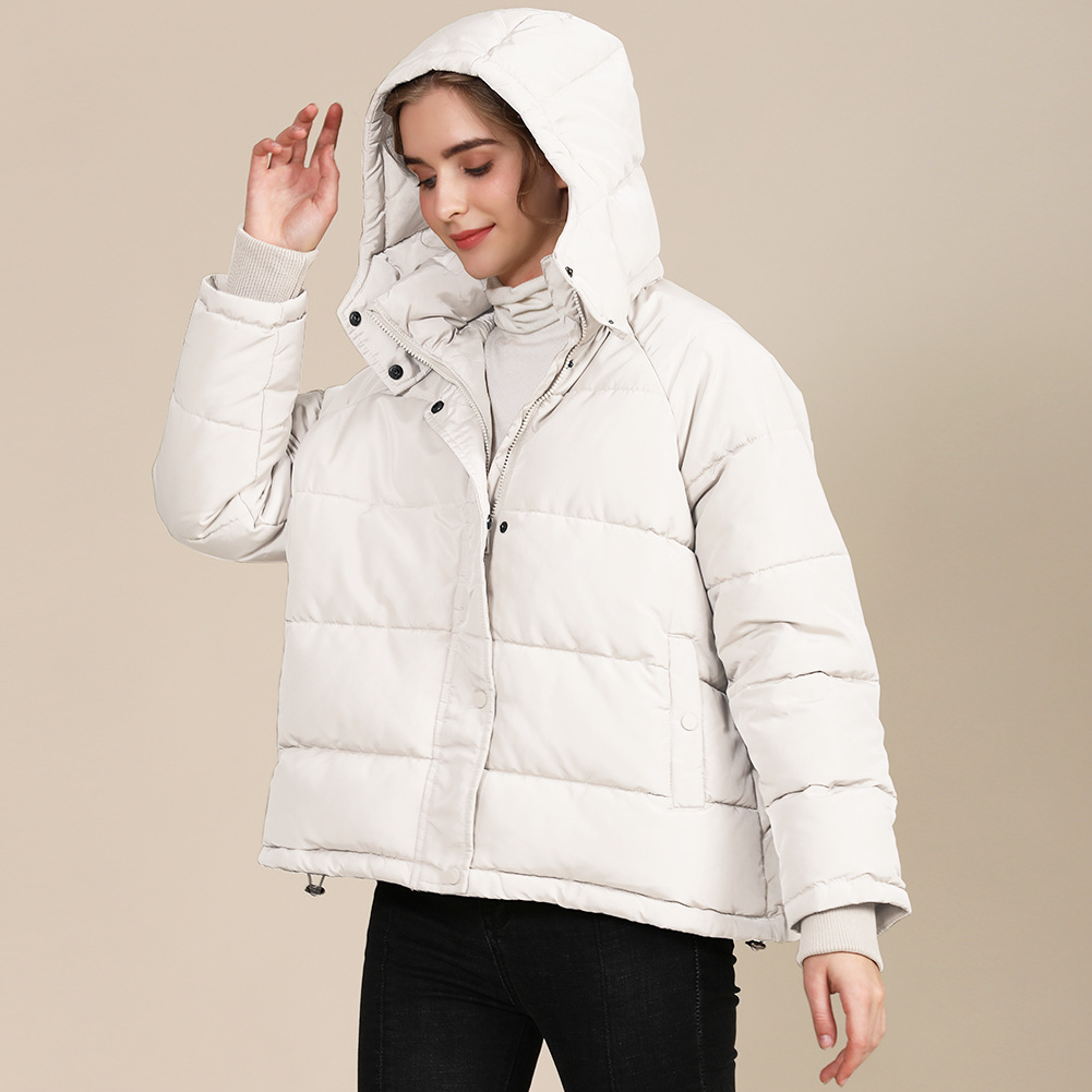 2020 new autumn and winter European and American plus size loose cotton-padded jacket female short solid color women's cotton coat women's  19