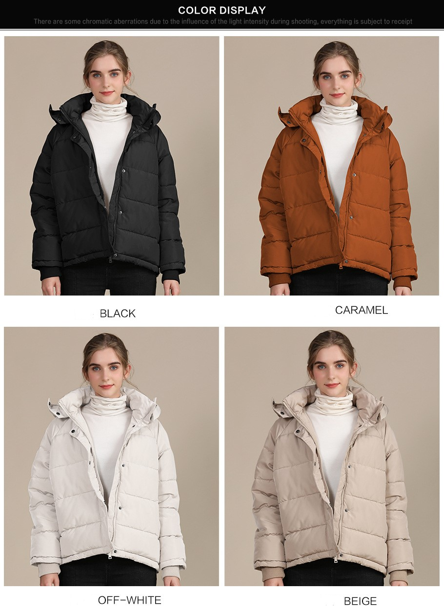 2020 new autumn and winter European and American plus size loose cotton-padded jacket female short solid color women's cotton coat women's  3